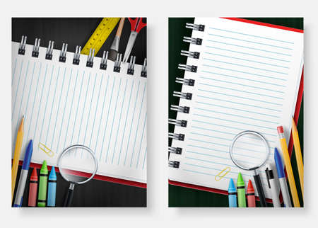 Back to School Poster Set Template with Notebook in Chalkboard Background with Space for Text  Used for Advertisement and Promotion with Various School Supplies