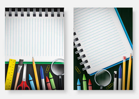 Isolated Back to School Poster Set Template with Notebook in Chalkboard Background with Space for Text  Used for Advertisement and Promotion with Various School Supplies