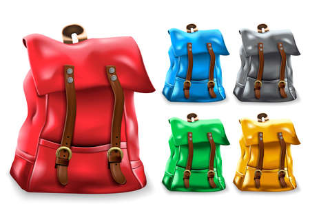 Backpack 3D Realistic Bag Set Design with Different Color Variations Like Red, Blue, Black, Green, and Yellow in White Isolated Background for Back to School or Travel. Vector Illustration