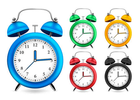 Alarm Clock 3D Realistic Set Design with Different Color Variations Like Blue, Green, Yellow, Red, and Black in White Isolated Background. Vector Illustration