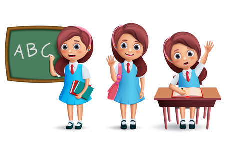 School girl vector character set. Student kid wearing school uniform with various postures like standing in chalkboard and studying in desk for back to school and education design. 3D realistic vector