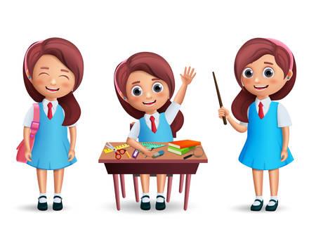 Conjunto de caracteres de vector de estudiante de niña de escuela. Niño de regreso a la escuela con uniforme con varias posturas como estar de pie y estudiar en el escritorio aislado en blanco. Ilustración de vector realista 3D.