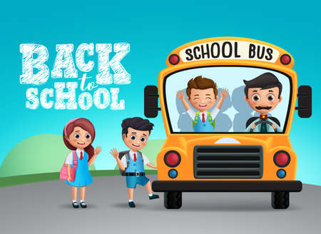 Back to school text and school bus with happy kids or students wearing uniform and backpack in blue background for education design. Vector illustration.