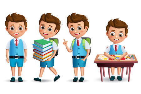 Set di caratteri di vettore del ragazzo di scuola. Torna a scuola studente che indossa l'uniforme in posizione eretta e disegno in scrivania. Illustrazione realistica di vettore 3D.