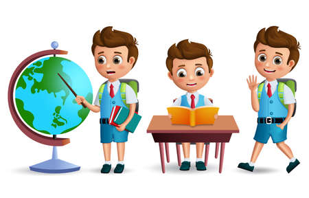 School kids vector character set. Student boy wearing school uniform and backpack reading books in desk for back to school and education related design. 3D realistic vector illustration.