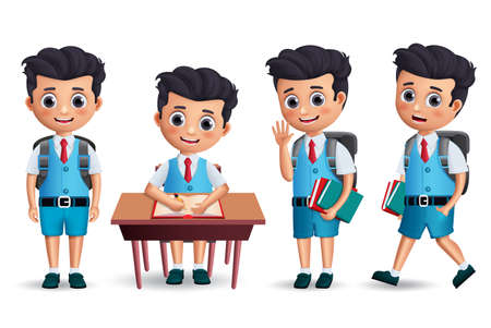 Student boy vector character set. School kid character wearing uniform and backpack with various postures like standing, walking and studying in desk. 3D realistic vector illustration.
