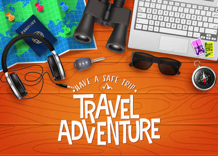 Travel Adventure 3D Realistic Banner Top View with Travelling Items like Map, Passport, Binoculars, Laptop, Headset, Sunglasses, Car Key and Compass in Top of Brown Wood Planks. Vector Illustration