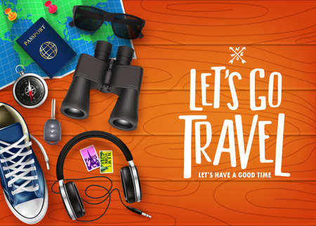 Lets Go Travel 3D Realistic Banner Top View with Travelling Items like Map, Passport, Binoculars, Sneaker, Headset, Sunglasses, Car Key and Compass in Top of Brown Wooden Table. Vector Illustration  イラスト・ベクター素材