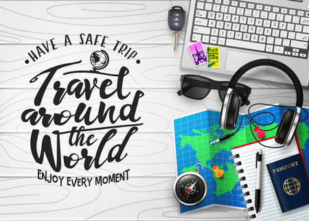 Travel Around the World 3D Realistic Banner Top View Travel Scene Generator in top of White Wood Plank Table  with Travelling Items like Laptop, Car Key, Sunglasses, Headset, Map, Compass, Passport, Pen and Notebook. Vector Illustration Illustration