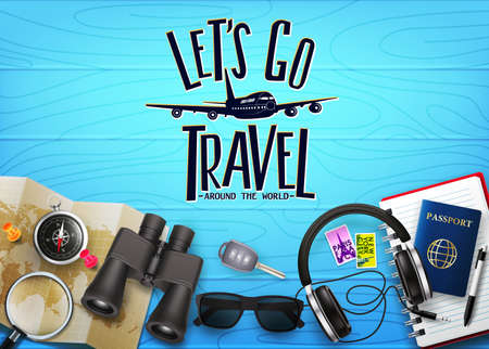 3D Realistic Travel Banner Scene Generator Top View in Blue Wood Planks with Lets Go Travel Text and Travelling Item such as Binoculars, Map, Compass, Magnifying Glass, Sunglasses, Car Key, Headset,   イラスト・ベクター素材