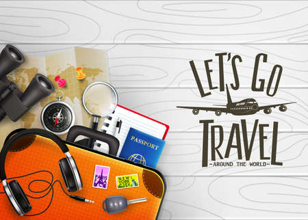 3D Realistic Lets Go Travel Around The World Creative Banner with Travelling Item such as Binoculars, Map, Compass, Magnifying Glass, Sunglasses, Car Key, Headset, Passport, Pen, Suitcase and Noteboo