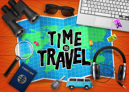 Creative Time to Travel 3D Realistic Vector Illustration in Top of Brown Wooden Plank Table with Travelling Items like Binoculars, Map, Magnifying Glass, Sunglasses, Car Key, Headset, Passport and Blu