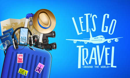 3D Realistic Travel Banner Front View with Lets Go Travel Around the World Message and Travelling Items such as Luggage Bag,  Binoculars, Map, Magnifying Glass, Sunglasses, Car Key, Headset, Passport  イラスト・ベクター素材