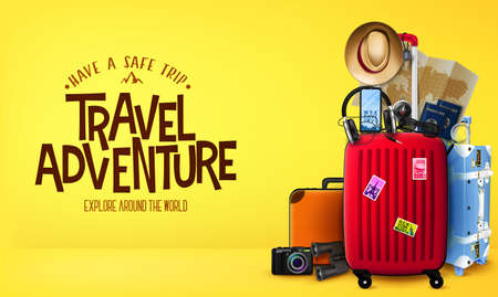 3D Travel Adventure Realistic Banner in Yellow Background Front View with Luggage Bags, Suitcase, Camera, Binoculars, Map, Magnifying Glass, Sunglasses, Car Key, Headset, Passport, Hat, and Mobile Pho