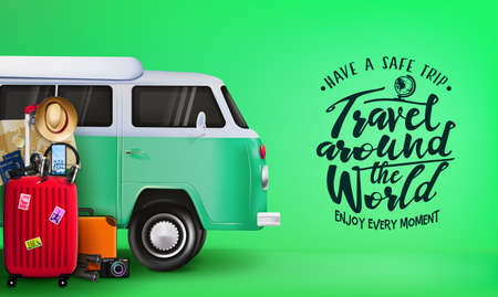 Travel Around the World Banner with 3D Realistic Travelling Van Car and Luggage Bag, Suitcase, Camera, Binoculars, Map, Magnifying Glass, Sunglasses, Car Key, Headset, Passport, Hat, and Mobile Phone in Green Background. Vector Illustration Illustration