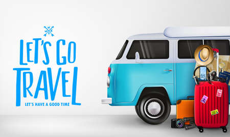 3D Travel Around the World Banner with Realistic Travelling Van Car and Items Like Luggage Bag, Suitcase, Camera, Binoculars, Map, Magnifying Glass, Sunglasses, Car Key, Headset, Passport, Hat, and Mo  イラスト・ベクター素材