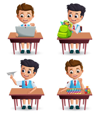School boy vector character set. Student kids on a desk while doing school activities wearing uniform isolated in white background for back to school. Vector illustration.  イラスト・ベクター素材