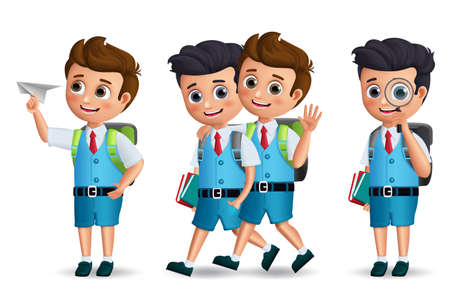 School boys vector character set. Student kids holding school items walking and talking with classmates isolated in white background for back to school. Vector illustration.  イラスト・ベクター素材
