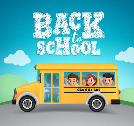 Back to school vector design. School bus and back to school text with happy kids students riding outdoor.  Vector illustration.  イラスト・ベクター素材
