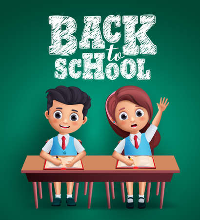 Back to School kids vector design. Boy and girl students sitting on the desk studying lessons and wearing uniform with back to school text in blackboard background. Vector illustration  イラスト・ベクター素材