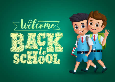 Back to school kids vector design. Boys students characters happy walking together wearing school uniform and backpack with text in chalkboard background. Vector illustration.