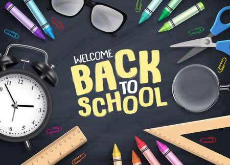 Back to school vector background. Colorful school supplies and educational items with back to school text in empty space blackboard background. Vector illustration.