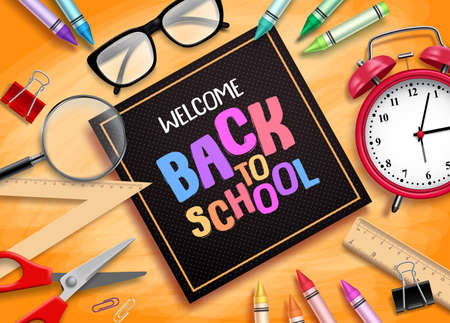 Welcome back to school vector banner design with school supplies, educational items and black frame for greeting text in textured orange background. Vector illustration.