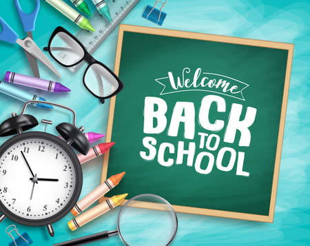 Back to school vector background template. Welcome back to school greeting text in chalkboard and school elements in textured blue background. Vector illustration.