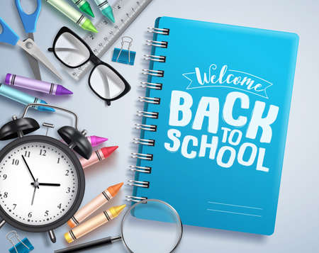 Back to school vector design with welcome back to school greeting text written in notebook with school items and education elements in white background. Vector illustration.