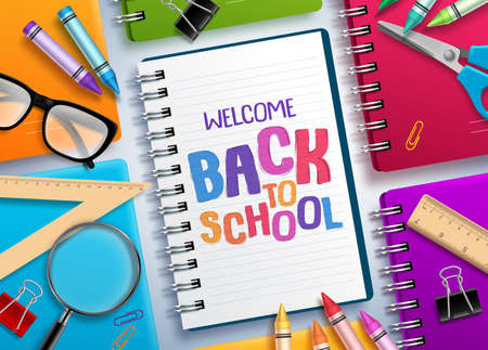 Back to school vector concept with colorful notebooks and welcome back to school text written in white paper and school elements. Vector illustration. Stock Illustratie