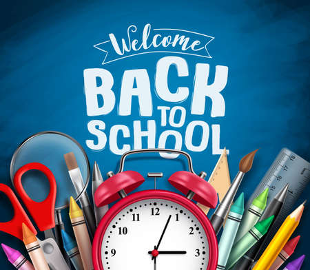 Back to school vector banner design with school items, education elements, alarm clock and welcome back to school greeting text in blue chalkboard background. Vector illustration. Stock Illustratie