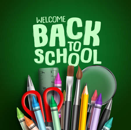 Back to school vector banner design. Welcome back to school greeting text with colorful school items and other educational elements in green background. Vector illustration.