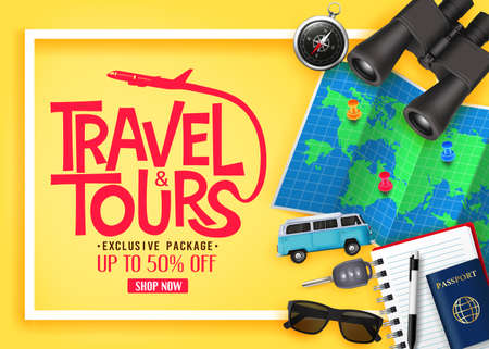 Travel and Tours Ads Banner Up To 50% Off Exclusive Package with Vector 3D Realistic Traveling Item Elements in Yellow Background. For Promotional Purposes  イラスト・ベクター素材
