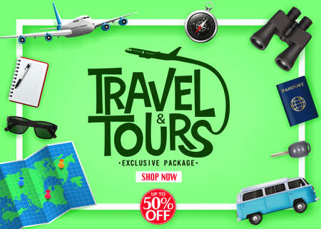 Travel and Tours Exclusive Package Up To 50% Off with Vector 3D Realistic Traveling Item Elements in Green Background Ads Banner. For Promotional Purposes  イラスト・ベクター素材