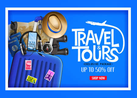 3D Realistic Travel and Tours Ads Banner in Blue Background with Blue Traveling Bag and other Travel Elements. For Promotional Purposes