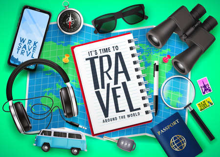 Travel Text in Notebook on Top of Map with 3D Realistic  Traveling Item Elements Like Passport, Compass, Phone, Binoculars and Key in Green Background. Vector Illustration