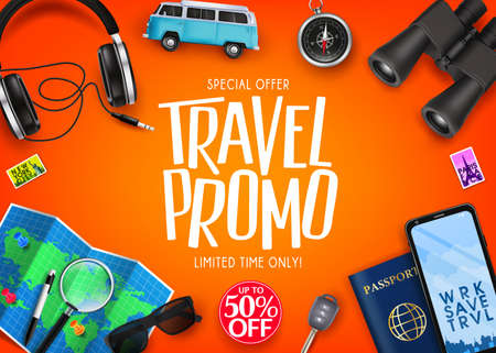 Travel Promo Ads Banner Up To 50% Off Special Offer with Vector 3D Realistic Traveling Item Elements in Orange Background. For Promotional Purposes  イラスト・ベクター素材