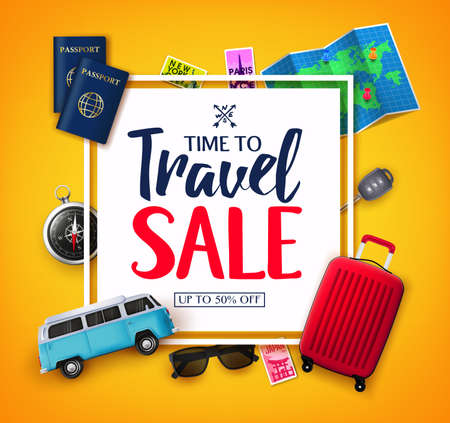 Time To Travel Ads Banner Up To 50% Off  in White Space for Text with Vector 3D Realistic Traveling Item Elements in Yellow Background. For Promotional Purposes  イラスト・ベクター素材