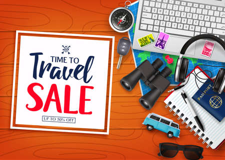 Time To Travel Sale in Square with Frame White Space for Text in Top of Wood Plank Table with Realistic 3D Traveling Item Elements. For Promotional Purposes