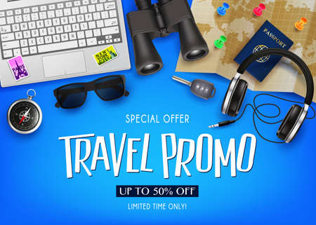 Travel Promo Banner Special Offer Up To 50% Off with 3D Realistic Vector Traveling Item Elements in Blue Background. For Promotional Purposes