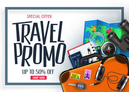 Travel Promo Banner Special Offer Up To 50% Off with Blue Frame 3D Realistic Vector Traveling Item Elements in White Isolated Background. For Promotional Purposes