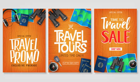 Travel Vector Set Template with Creative Stylish Text Logo and Realistic 3D Traveling Item Elements in Wooden Background Illustration Design. For Promotional Purposes Ilustrace