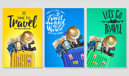 Travel Poster Set Template with Traveling Bag and Message Text in Gradient Background with Mesh 3D Realistic Travel Elements. Vector Illustration Ilustração