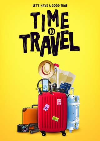 Time to Travel Tourism Poster Concept Front View with Red 3D Traveling Bag and Realistic Travel Item Elements in Yellow Orange Background Design. Vector Illustration Ilustração