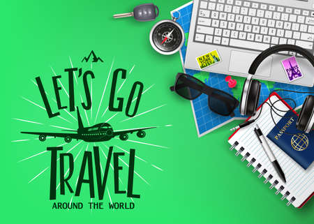Travel or Tourism Banner with Text Let's Go Travel 3D Realistic Traveling Item Elements and Gadgets Top View in Green Background. Vector Illustration