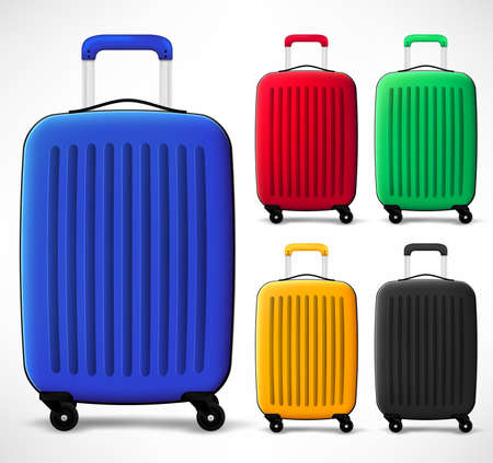 Bag Travel Luggage Plastic Different Color Set 3D Realistic In Isolated White Background. Vector Illustration