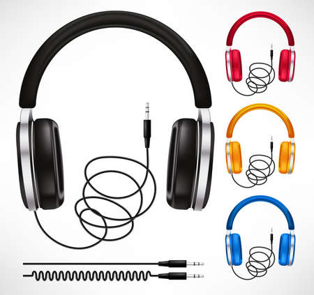 Headphones Different Colors Style Set Headset In Isolated Background Used to Listening Sound and Music. Vector Illustration