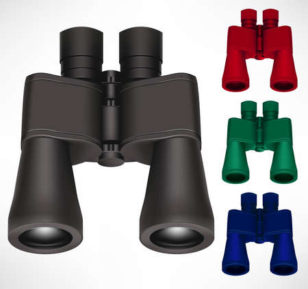 Binoculars Different Color Set 3D Realistic Design In Isolated Background For Traveler and Tourist Use to Look and Find Far Away Objects. Vector Illustration