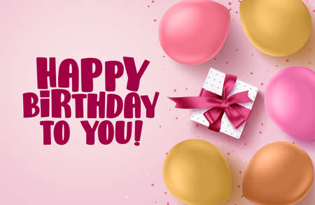 Happy birthday text vector banner in pink background. Greetings card with colorful balloons, confetti and box of gift for birthday celebration. Vector illustration.  イラスト・ベクター素材