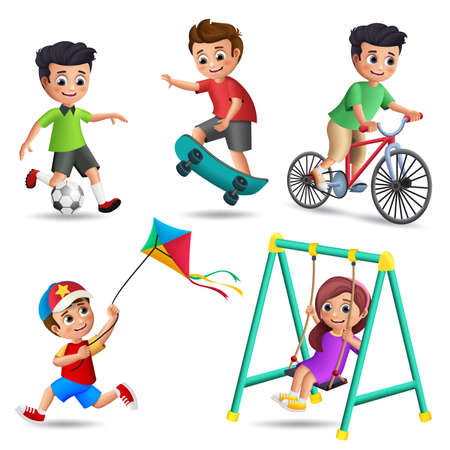 Kids playing vector characters set. Young boys and girls happy playing outdoor activities and sports like playing soccer, skateboard, kite, swing and bike isolated in white background. Vector illustration.